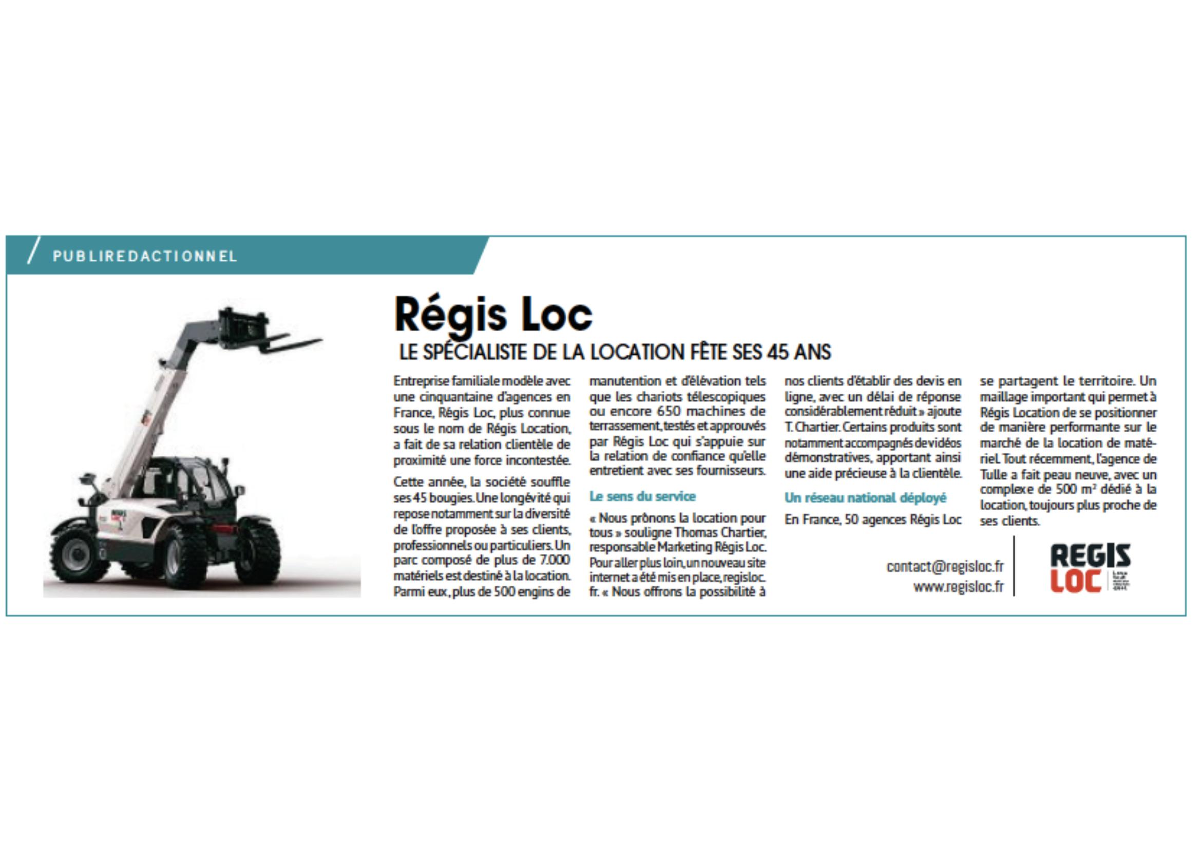 Article de Presse REGIS LOC dans La Montagne