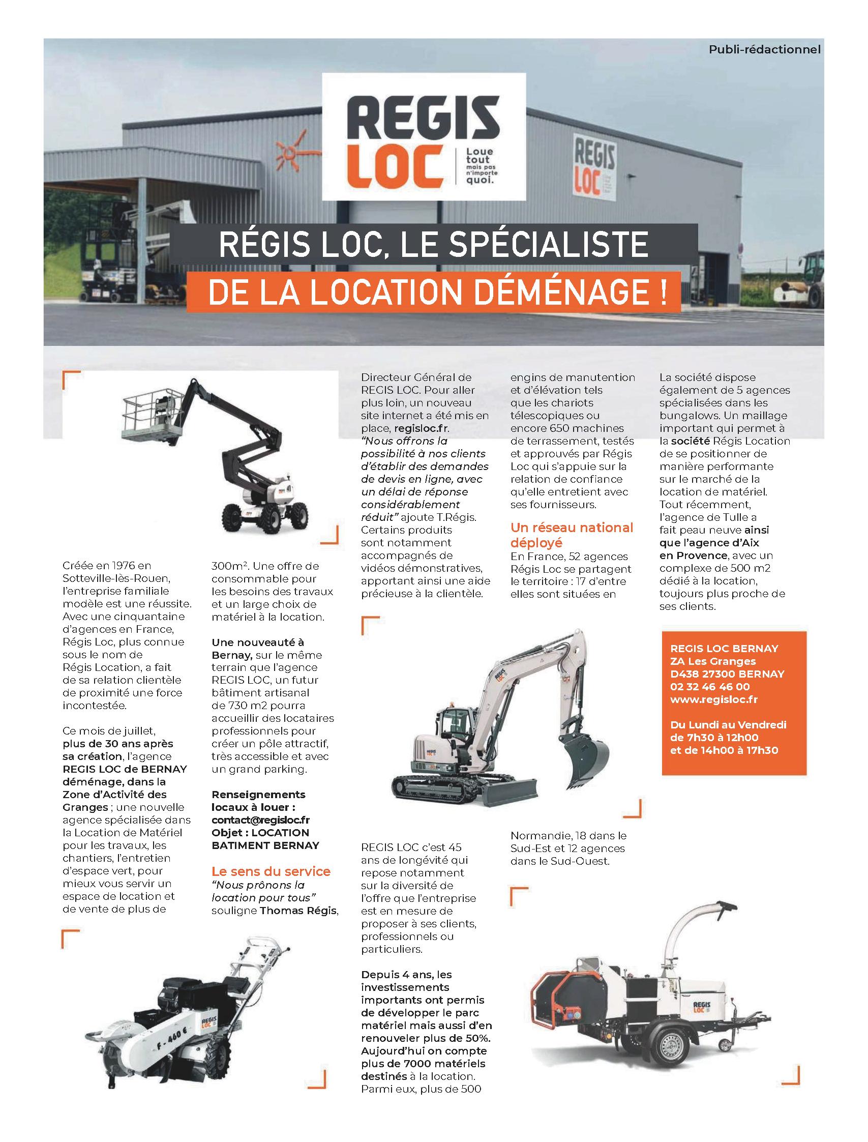 Article de Presse sur REGIS LOC dans le journal L'Éveil Normand